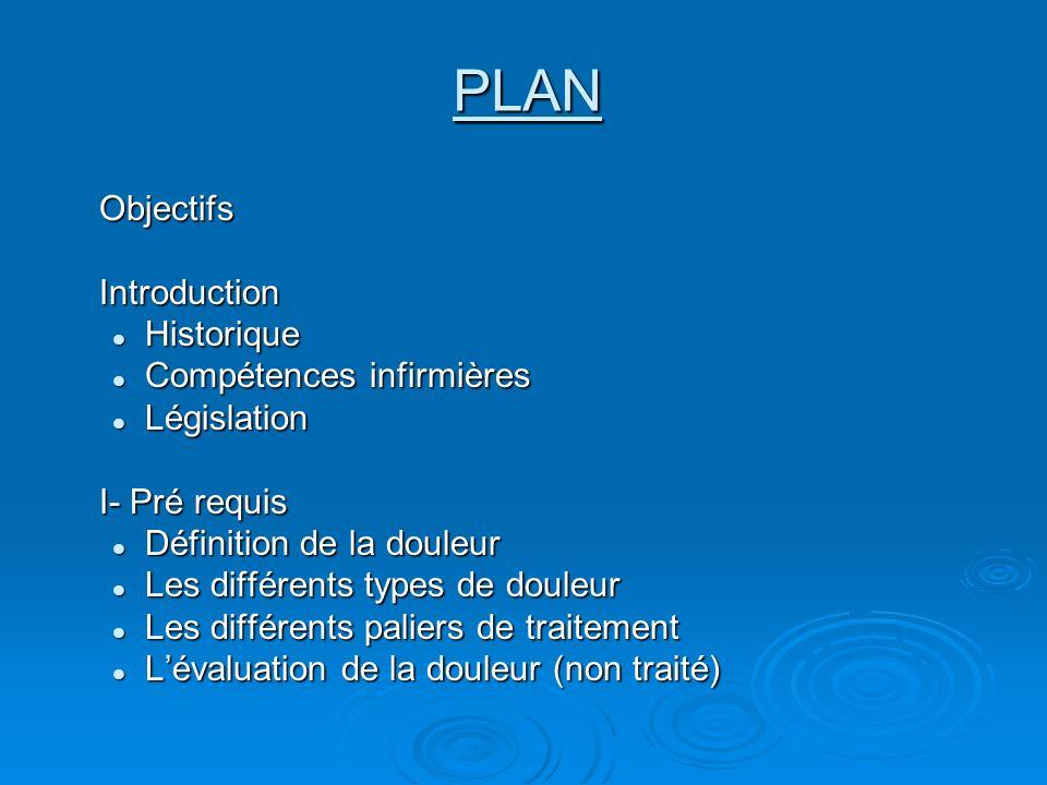 PLAN Objectifs Introduction Historique Compétences infirmières