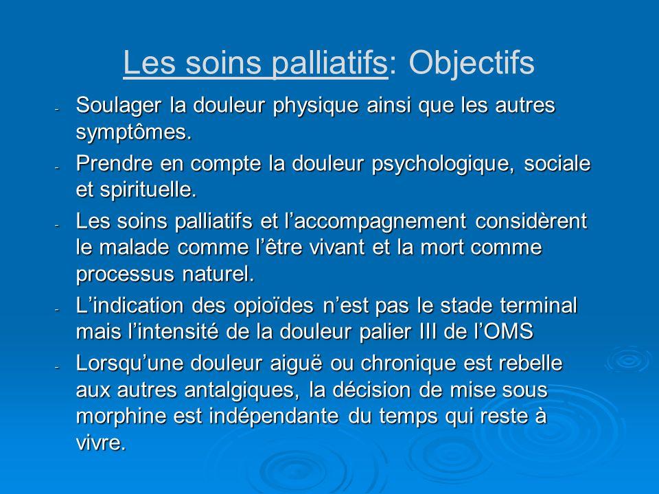 Les soins palliatifs: Objectifs