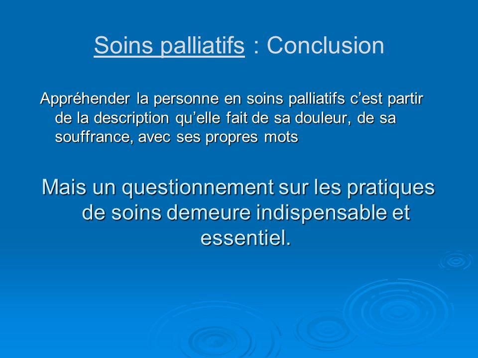 Soins palliatifs : Conclusion
