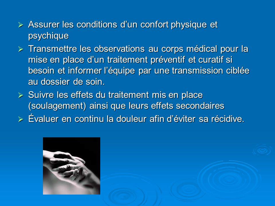Assurer les conditions d'un confort physique et psychique