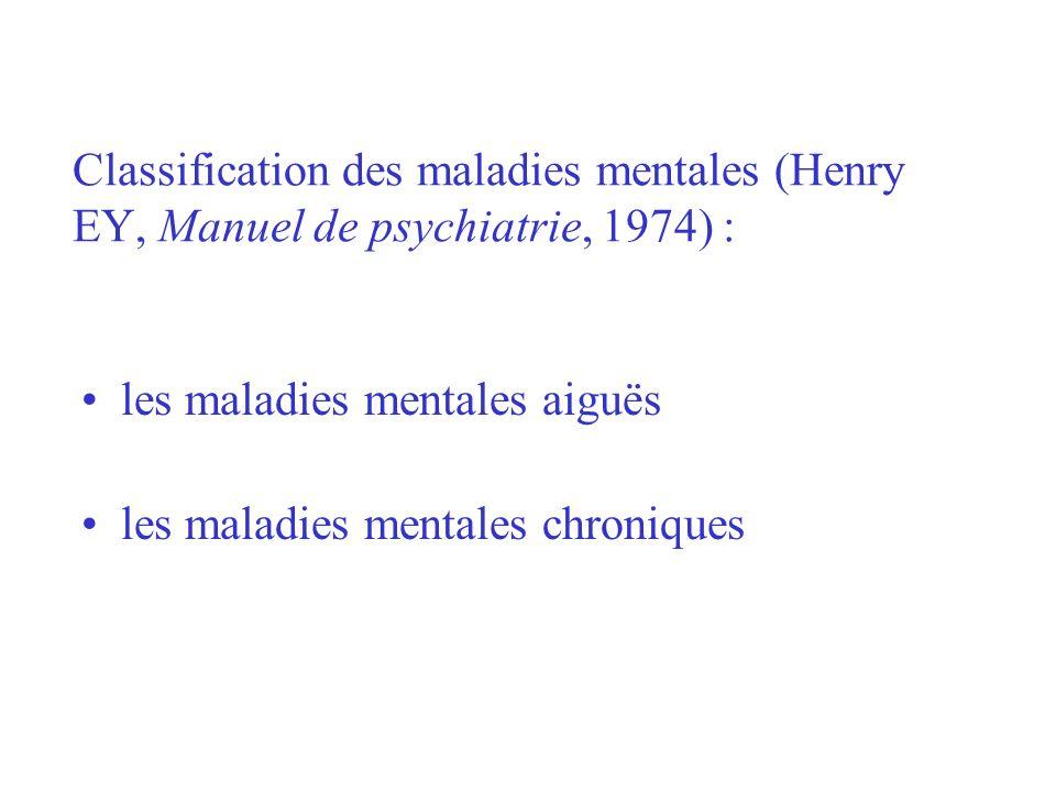 les maladies mentales aiguës les maladies mentales chroniques