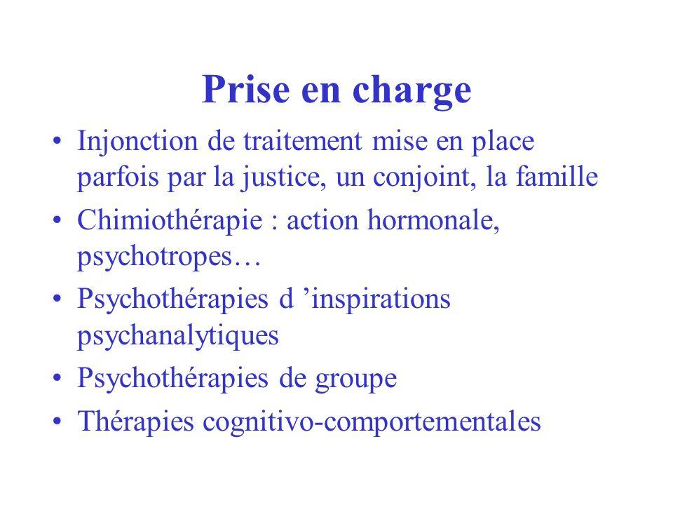 Prise en charge Injonction de traitement mise en place parfois par la justice, un conjoint, la famille.