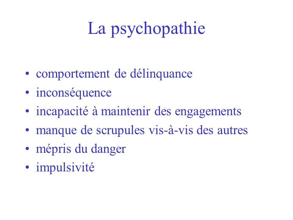 La psychopathie comportement de délinquance inconséquence