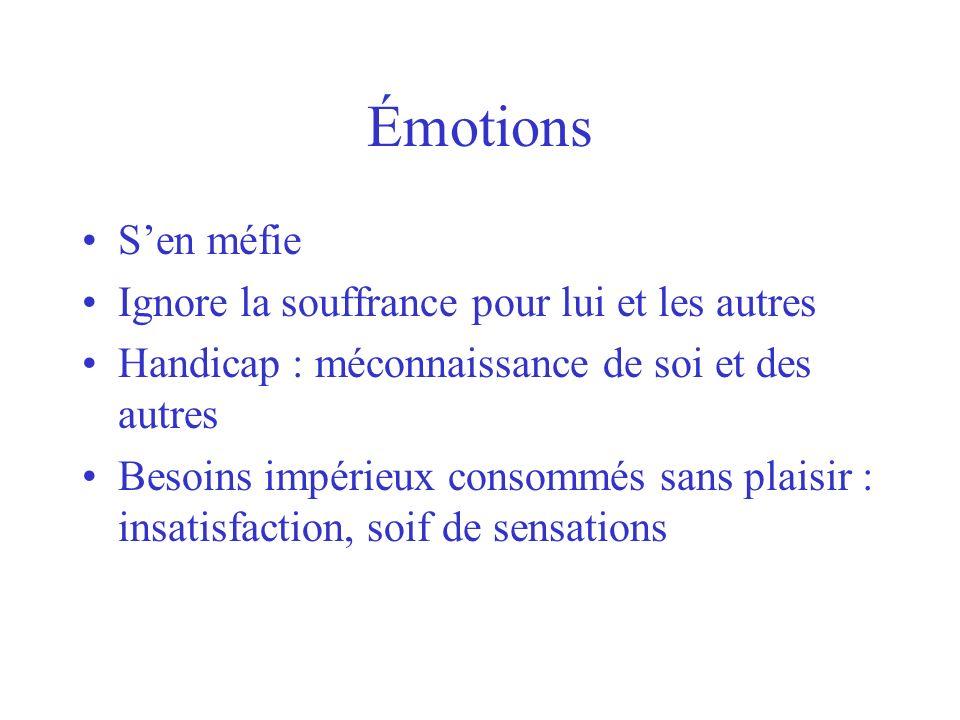 Émotions S'en méfie Ignore la souffrance pour lui et les autres