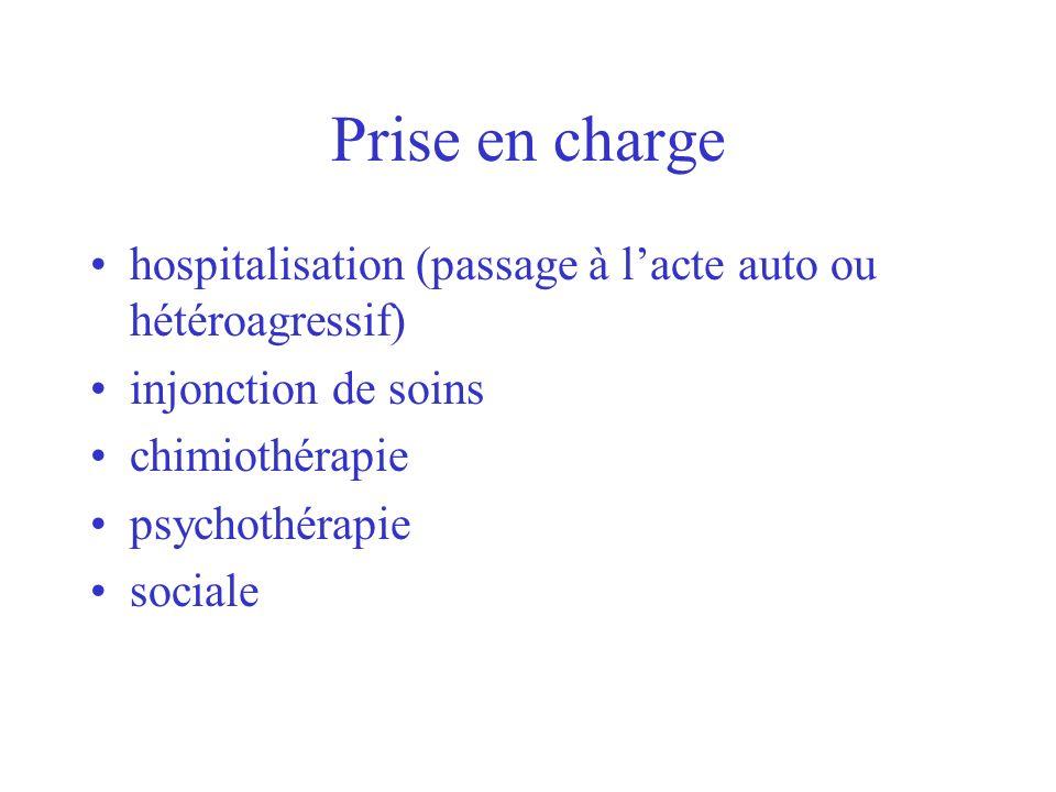 Prise en chargehospitalisation (passage à l'acte auto ou hétéroagressif) injonction de soins. chimiothérapie.