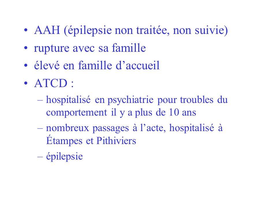 AAH (épilepsie non traitée, non suivie) rupture avec sa famille