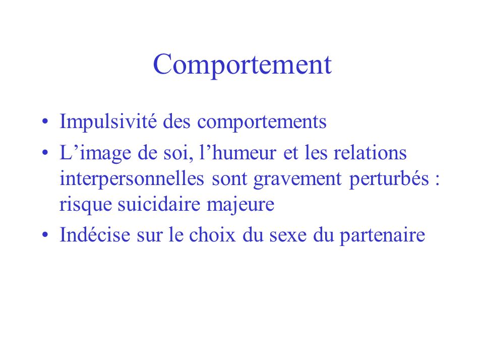 Comportement Impulsivité des comportements
