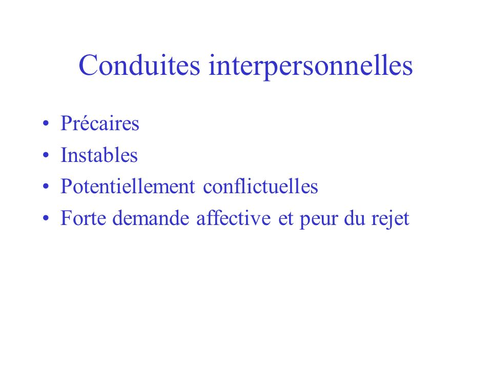 Conduites interpersonnelles
