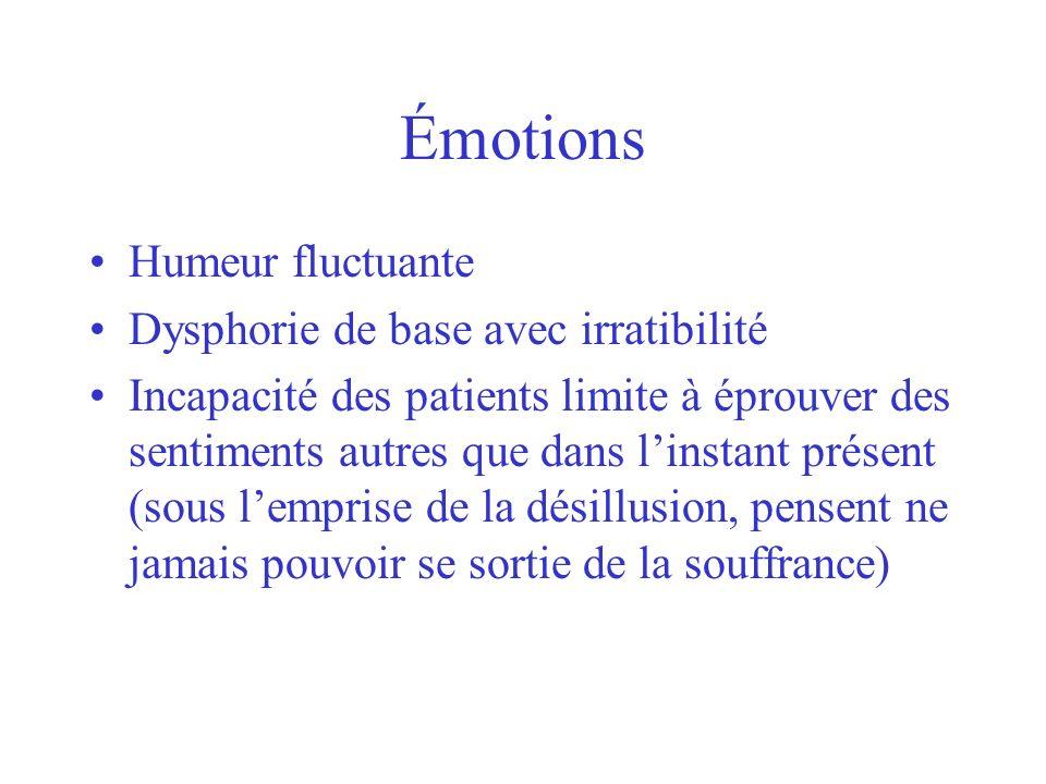 Émotions Humeur fluctuante Dysphorie de base avec irratibilité