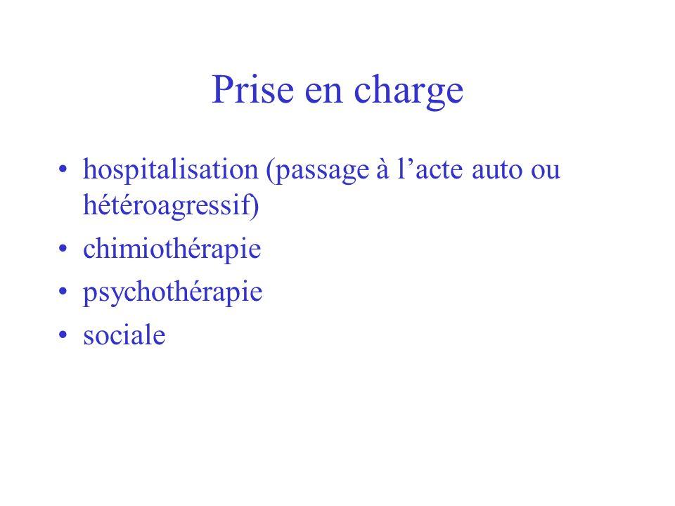 Prise en charge hospitalisation (passage à l'acte auto ou hétéroagressif) chimiothérapie. psychothérapie.