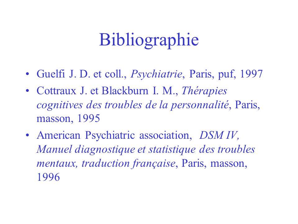 Bibliographie Guelfi J. D. et coll., Psychiatrie, Paris, puf, 1997