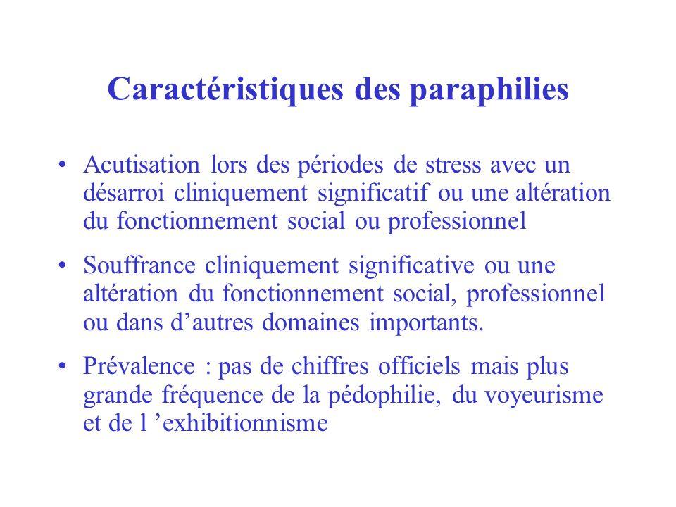 Caractéristiques des paraphilies