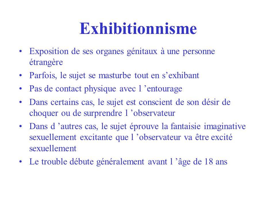 Exhibitionnisme Exposition de ses organes génitaux à une personne étrangère. Parfois, le sujet se masturbe tout en s'exhibant.