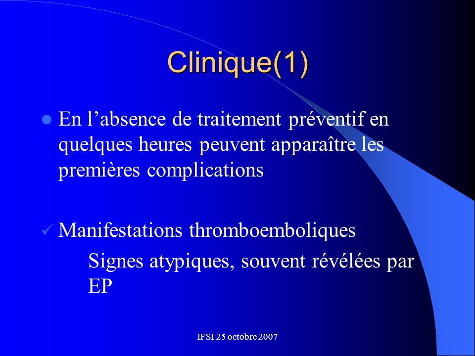 Clinique(1)En l'absence de traitement préventif en quelques heures peuvent apparaître les premières complications.
