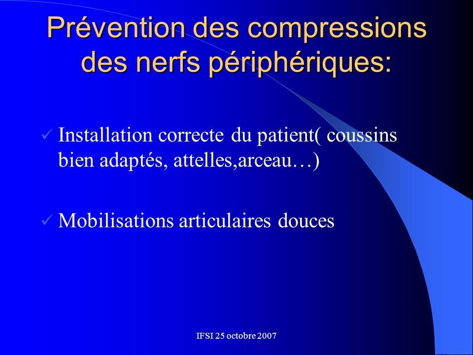 Prévention des compressions des nerfs périphériques: