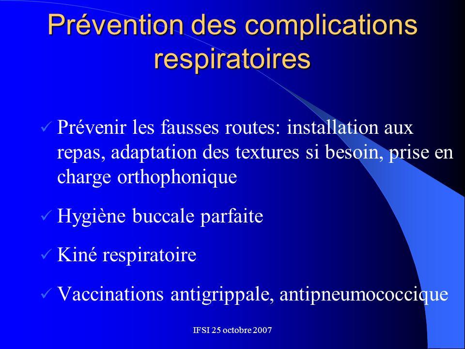 Prévention des complications respiratoires