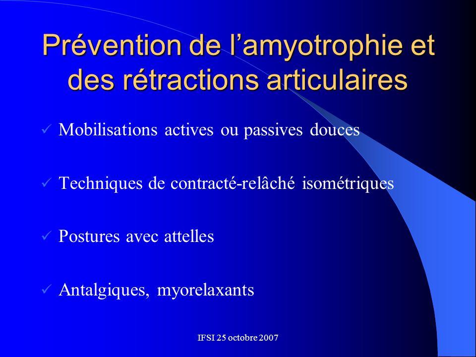 Prévention de l'amyotrophie et des rétractions articulaires