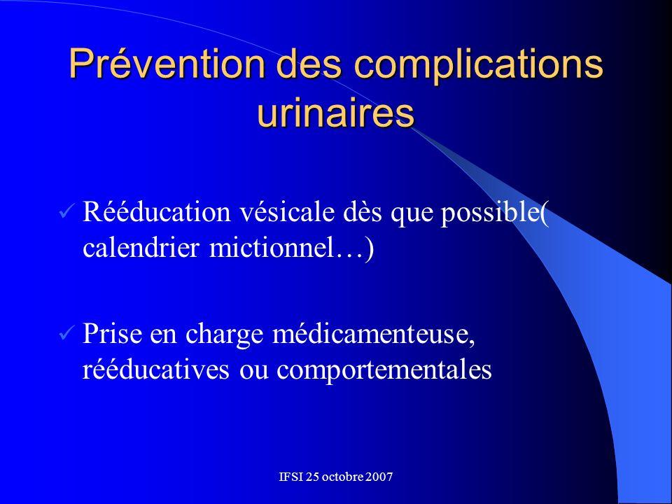 Prévention des complications urinaires