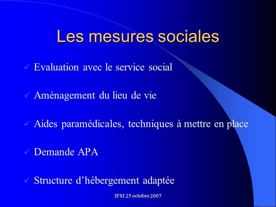 Les mesures sociales Evaluation avec le service social
