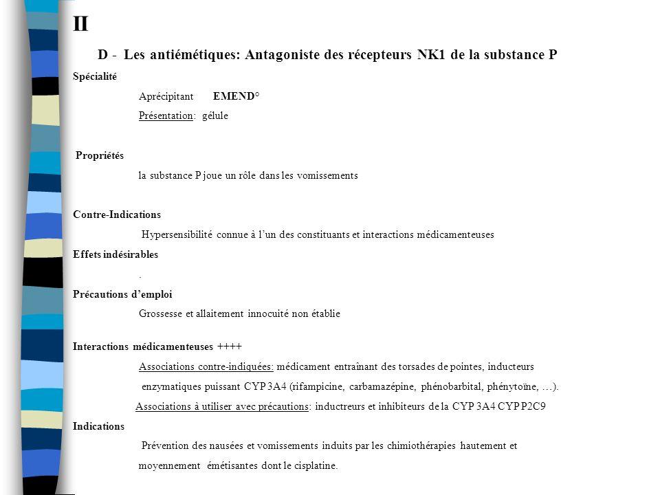 II D - Les antiémétiques: Antagoniste des récepteurs NK1 de la substance P. Spécialité. Aprécipitant EMEND°
