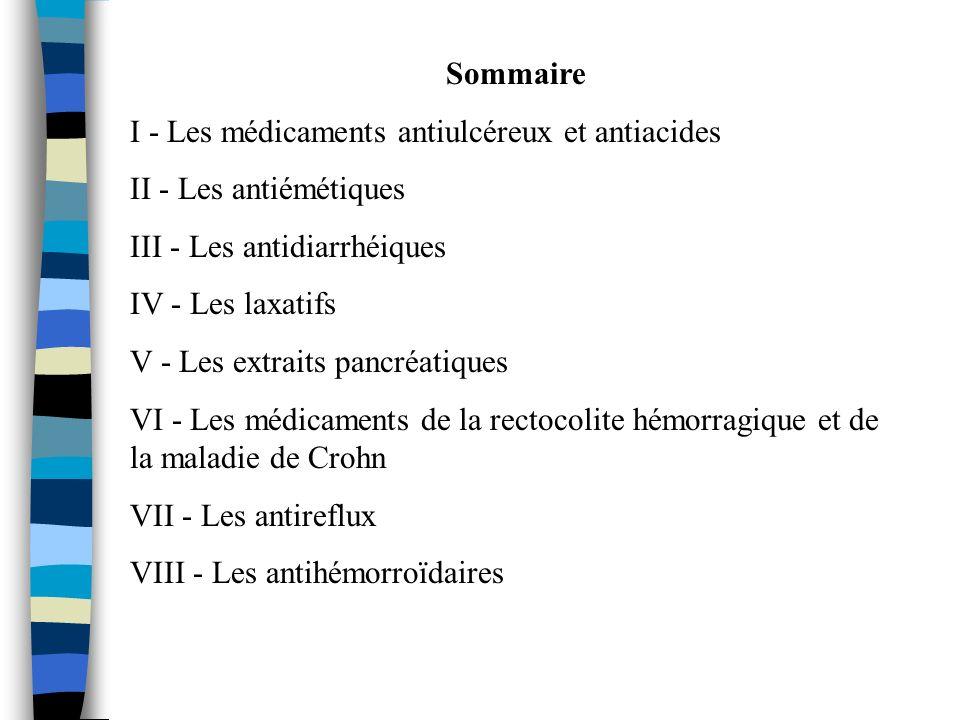 Sommaire I - Les médicaments antiulcéreux et antiacides. II - Les antiémétiques. III - Les antidiarrhéiques.