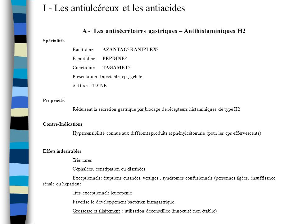 A - Les antisécrétoires gastriques – Antihistaminiques H2