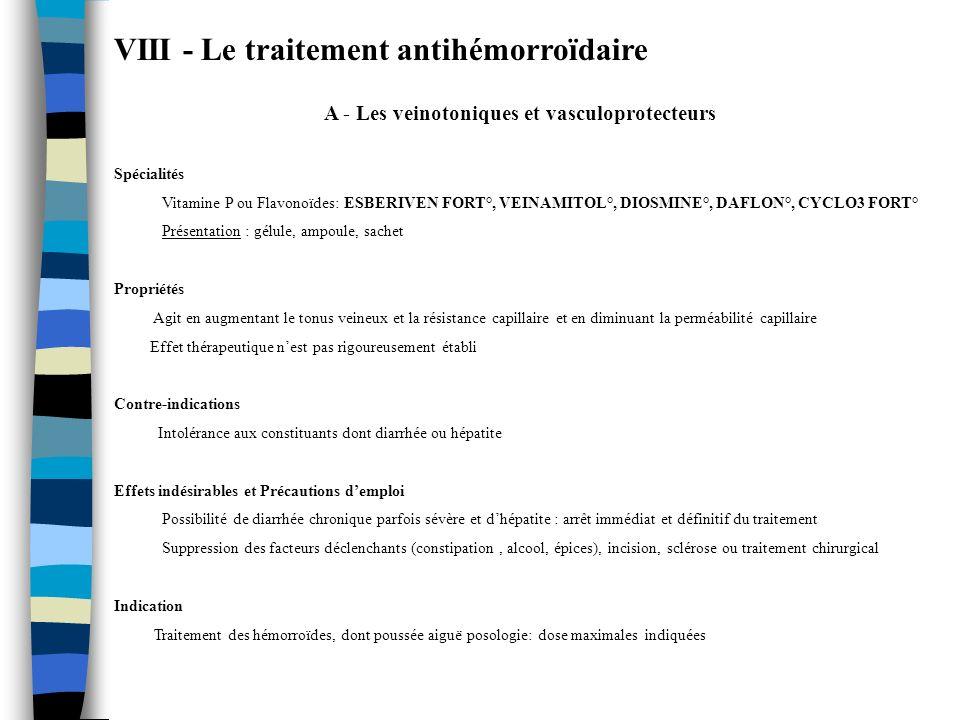 A - Les veinotoniques et vasculoprotecteurs