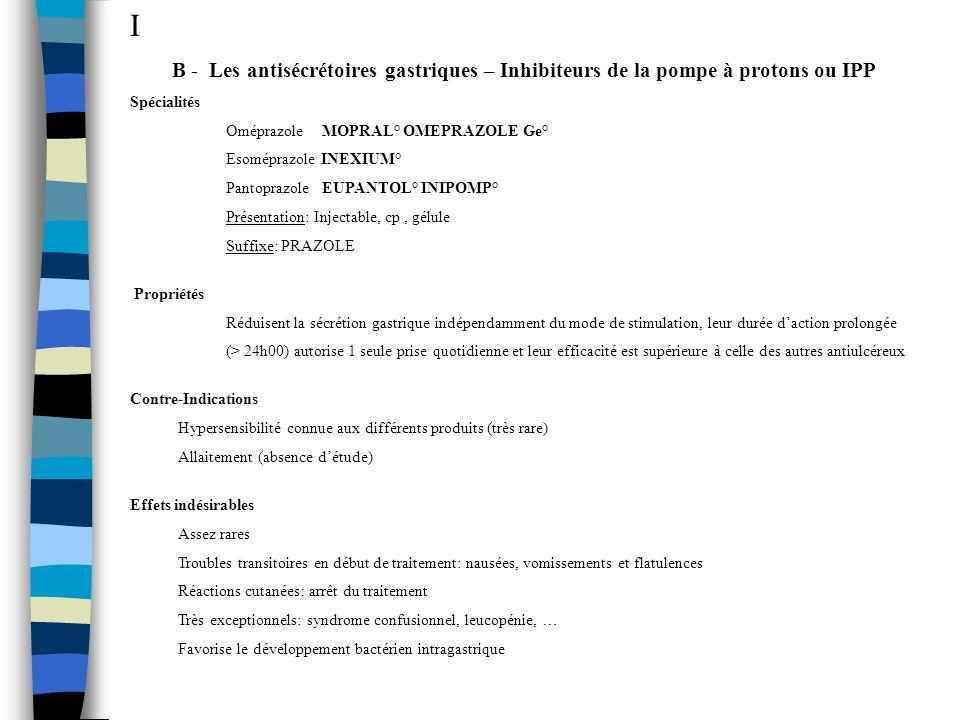 I B - Les antisécrétoires gastriques – Inhibiteurs de la pompe à protons ou IPP. Spécialités. Oméprazole MOPRAL° OMEPRAZOLE Ge°