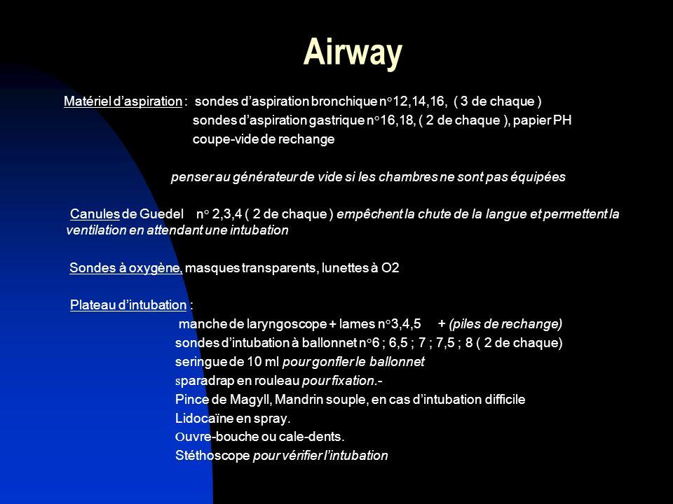 Airway Matériel d'aspiration : sondes d'aspiration bronchique n°12,14,16, ( 3 de chaque )