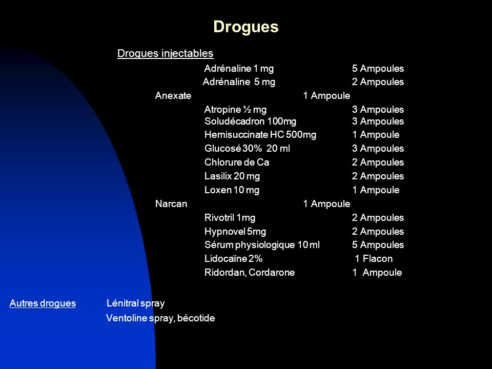 Drogues Drogues injectables Adrénaline 1 mg 5 Ampoules