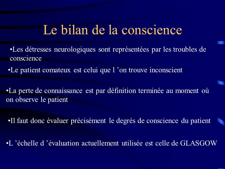 Le bilan de la conscience