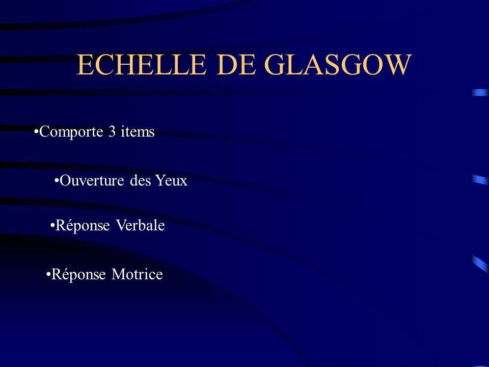 ECHELLE DE GLASGOW Comporte 3 items Ouverture des Yeux Réponse Verbale