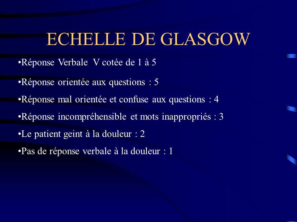 ECHELLE DE GLASGOW Réponse Verbale V cotée de 1 à 5