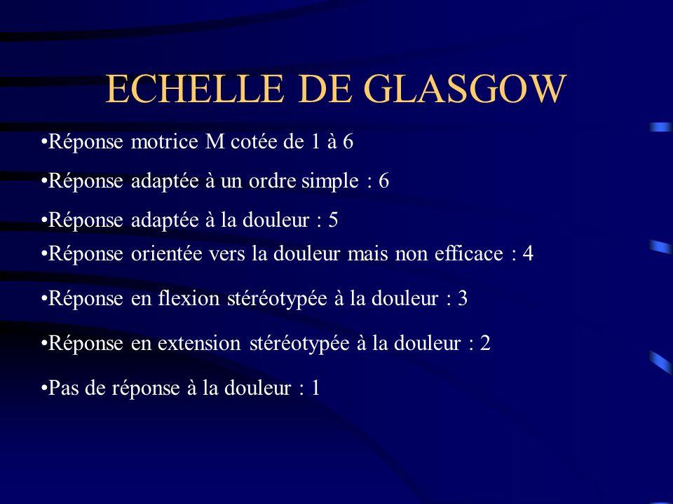 ECHELLE DE GLASGOW Réponse motrice M cotée de 1 à 6