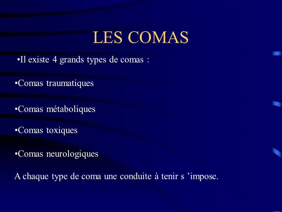 LES COMAS Il existe 4 grands types de comas : Comas traumatiques