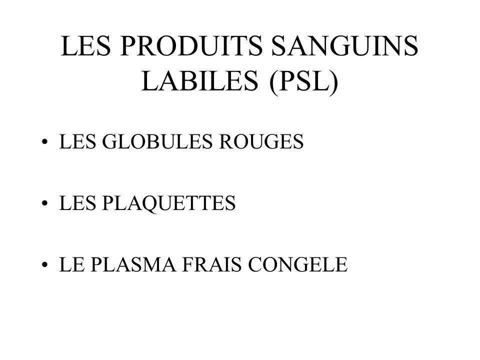 LES PRODUITS SANGUINS LABILES (PSL)