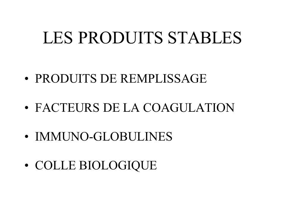 LES PRODUITS STABLES PRODUITS DE REMPLISSAGE