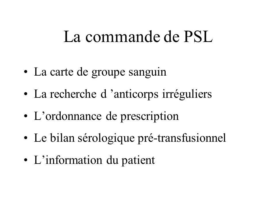 La commande de PSL La carte de groupe sanguin