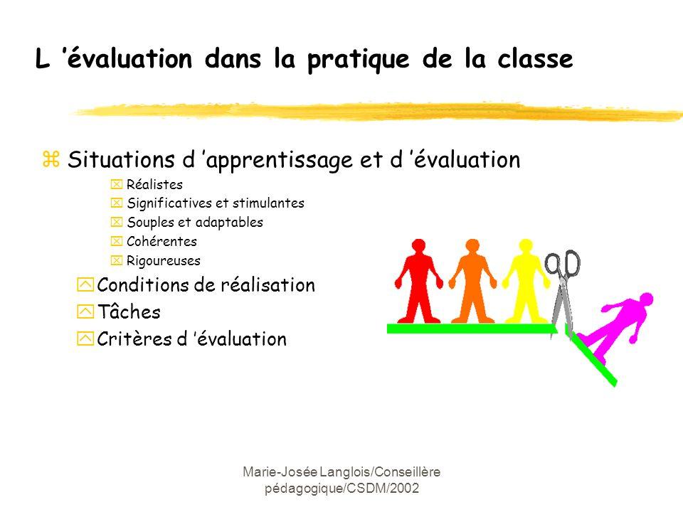 L 'évaluation dans la pratique de la classe