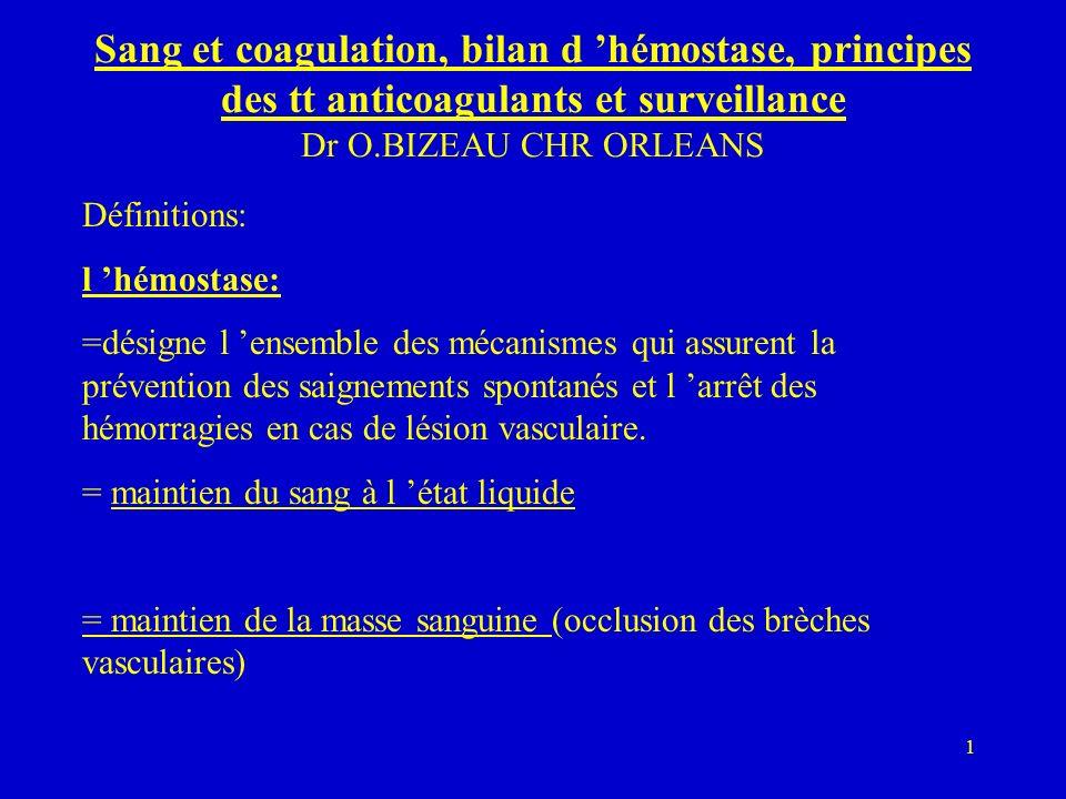 Sang et coagulation, bilan d 'hémostase, principes des tt anticoagulants et surveillance Dr O.BIZEAU CHR ORLEANS