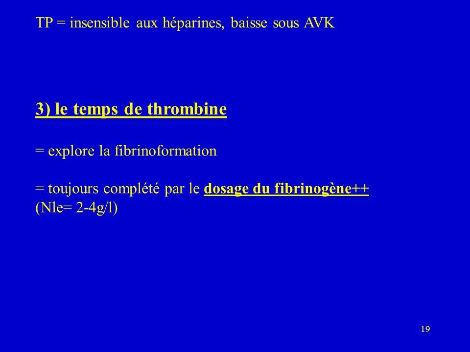 TP = insensible aux héparines, baisse sous AVK