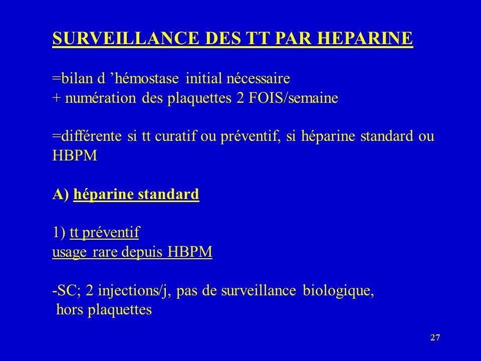 SURVEILLANCE DES TT PAR HEPARINE