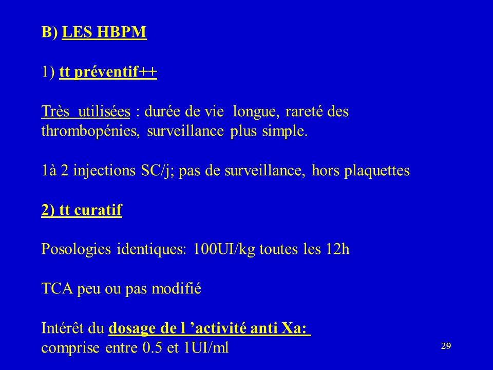 B) LES HBPM 1) tt préventif++ Très utilisées : durée de vie longue, rareté des. thrombopénies, surveillance plus simple.