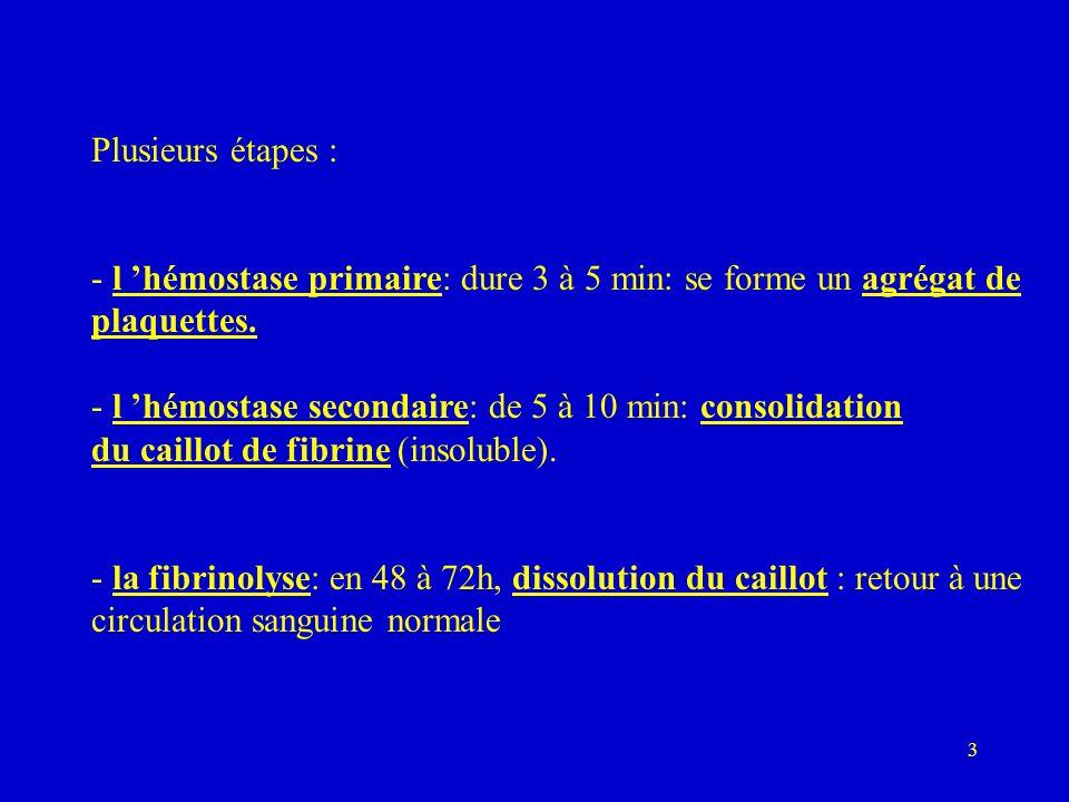 Plusieurs étapes : - l 'hémostase primaire: dure 3 à 5 min: se forme un agrégat de. plaquettes.