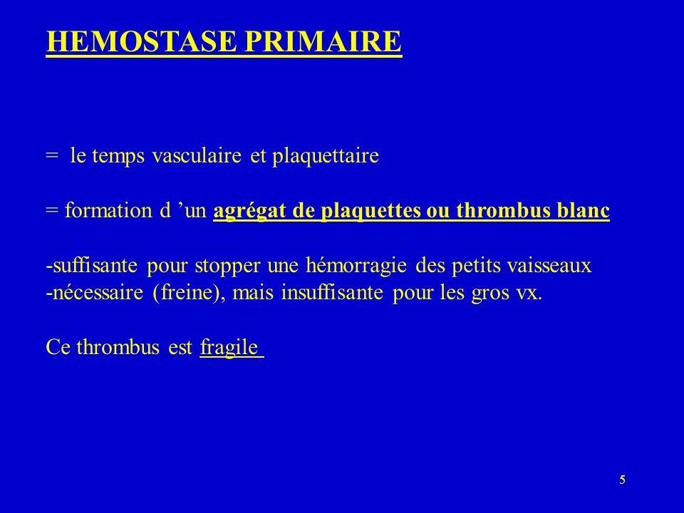 HEMOSTASE PRIMAIRE = le temps vasculaire et plaquettaire