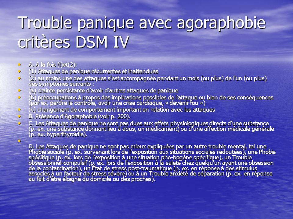 Trouble panique avec agoraphobie critères DSM IV