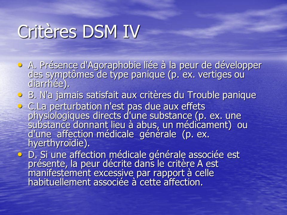 Critères DSM IV A. Présence d Agoraphobie liée à la peur de développer des symptômes de type panique (p. ex. vertiges ou diarrhée).