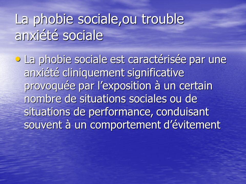 La phobie sociale,ou trouble anxiété sociale