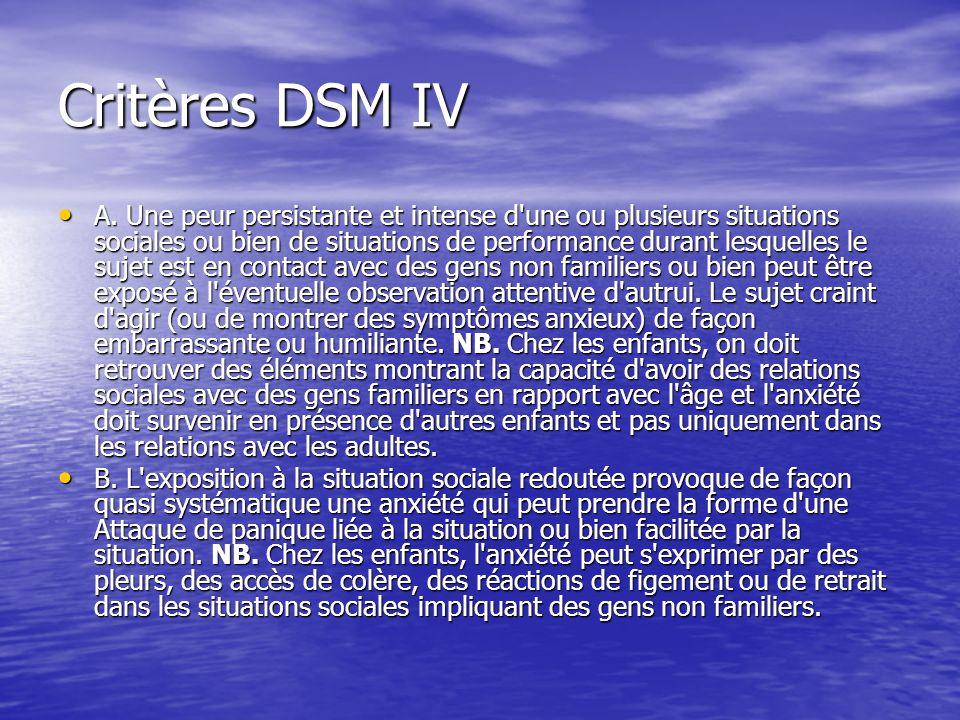Critères DSM IV