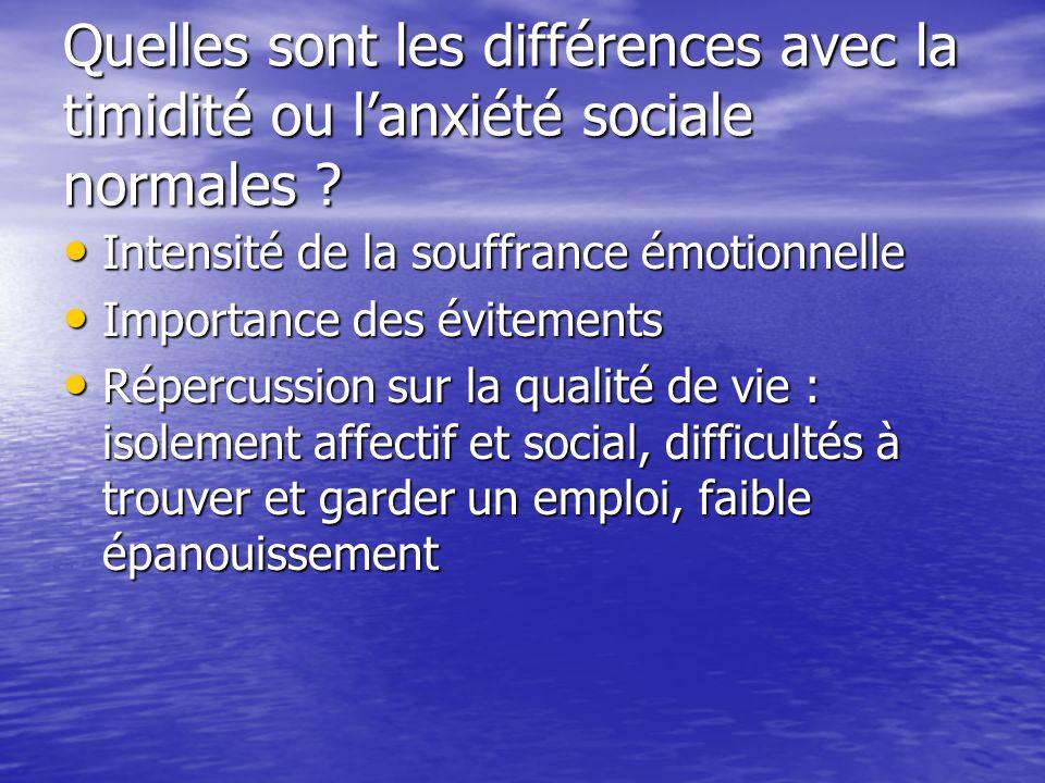 Quelles sont les différences avec la timidité ou l'anxiété sociale normales